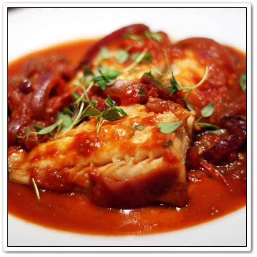 Bacalao con tomate y pimientos asados 170 recetas - Bacalao fresco con tomate ...